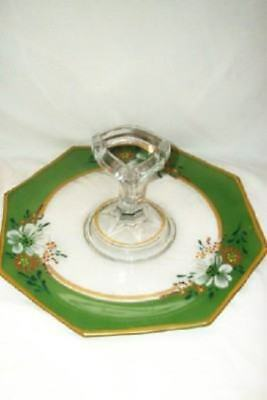ANTIQUE DEPRESSION GLASS PLATE HP Floral Green Gilt Handled Rare CHIC SHABBY