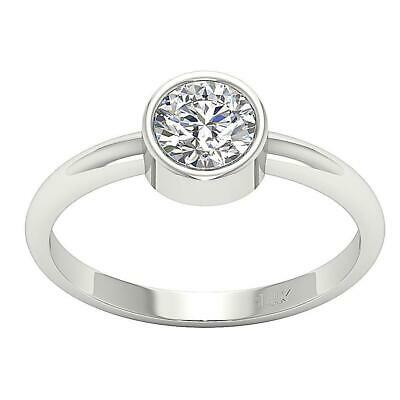 Solitaire Wedding Ring I1 G 0.70 Ct Natural Diamond Bezel Set 14K Gold 5.70 MM