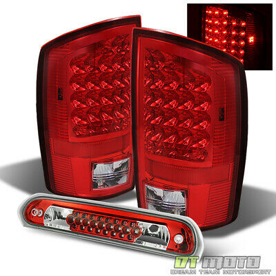 Fits 02-06 Ram 1500 03-06 Ram 2500 3500 Red Clear LED Tail Lights+3rd Brake Lamp