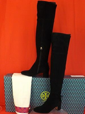 4adfbe320ca Tory Burch Laila 45 Black Suede Bow Gold Reva Zip Over The Knee Boots 7.5   598