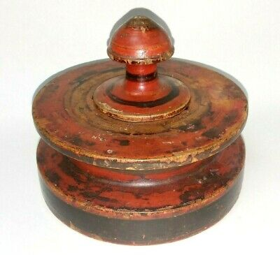EARLY 19th C ANTIQUE TREENWARE LIDDED JAR PAINTED TREEN WOOD SPICE APOTHECARY ?