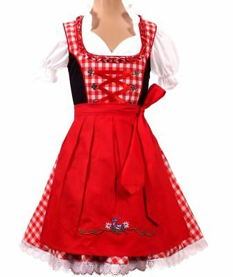 Girls,Kids,sz 8.Germany,German,Trachten,May,Oktoberfest,Dirndl Dress,3-pc.RED,Bl