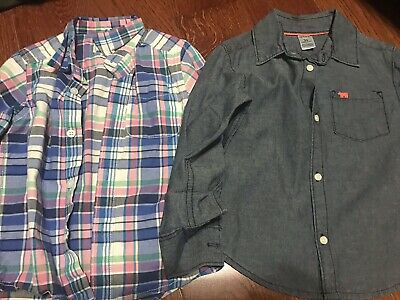 Lot Of 2 Childrens Place And Carter's Long Sleeve Button Toddler Shirts Size 3T