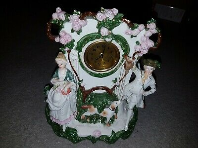 Vintage German Figural Porcelain Clock Huntsman and Dog Mantel Clock Victorian