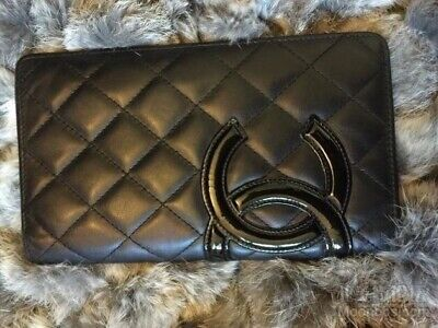 e5a4b30d7a5b90 Vintage CHANEL Cambon Leather Bifold Compact Wallet Black Authentic Free  Ship