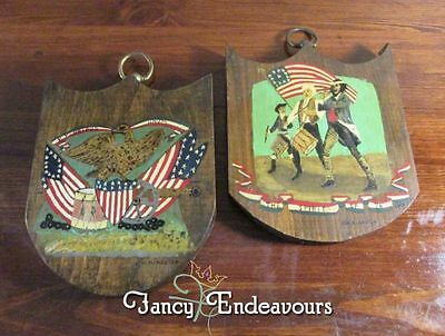 Patriotic HP Folk Art Spirit of '76 Minutemen American Eagle Wood Plaques