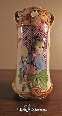 Antique Austria Majolica Art Nouveau Vase with Japanese Geisha Japonism