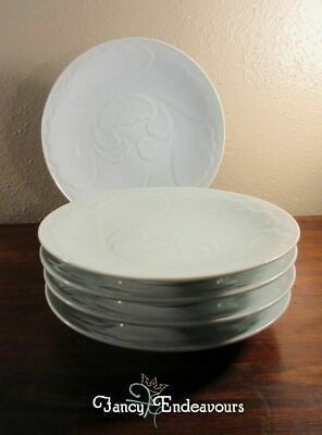 FIVE Chinese Porcelain Celadon Plates with Embossed Floral Pattern Signed