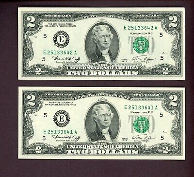 Lot (2) $2 Two Dollar Bills w/ Consecutive Serial Numbers