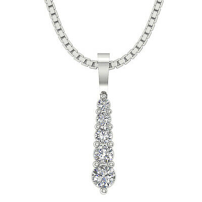 Journey Pendant Necklace 5 Natural Round Cut Diamond I1 G 0.30 Ct 14K White Gold