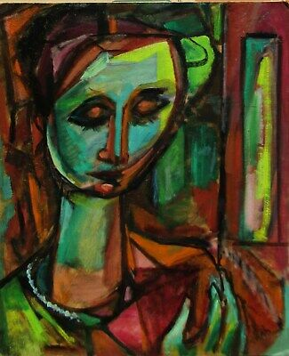 LISTED Elijah Silverman PERIOD Abstract Expressionist Portrait Oil Painting NR