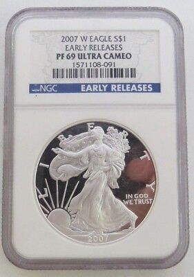 2007-W .999 $1 SILVER EAGLE West Point EARLY RELEASES PF 69 Ultra Cameo NGC