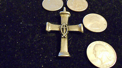 bling pewter MYTH CELT DRUID mason cross religious fish pendant charm necklace