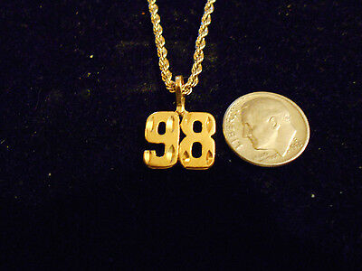 bling gold plated SPORT GAME FASHION JEWELRY number 98 pendant charm necklace GP