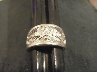 bling silver plated solid eagle mascot army symbol finger ring hip hop size 9.5