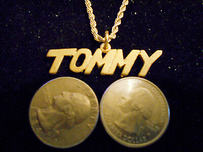bling gold plated name person handle tommy pendant charm chain necklace jewelry