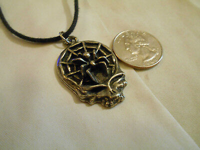 bling pewter DEMONIC MYTH goth spider skull BIKER pendant charm necklace JEWELRY