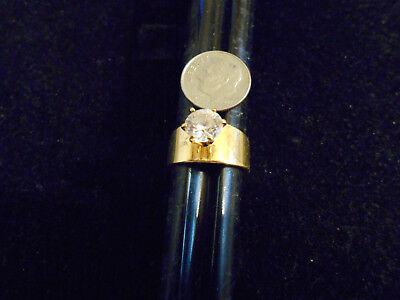bling gold plated ICED OUT FASHION cubic solitaire ring hip hop jewelry sz 8 GP