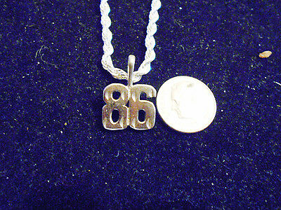 bling silver plated sports team number 86 fashion pendant charm necklace jewelry