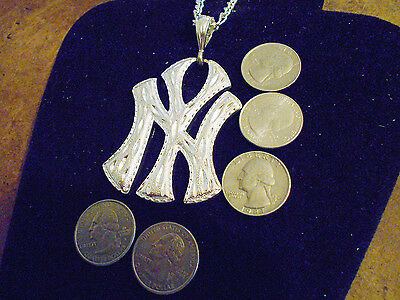 bling silver plated big apple new york ny rapper pendant charm hip hop necklace