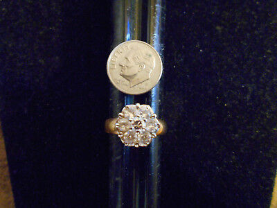 bling gold plated iced out fashion cubic COCKTAIL cluster ring hip hop sz 11 GP