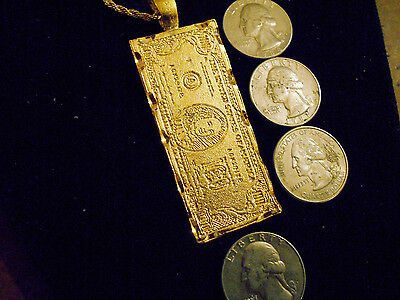 bling gold plated 100 dollar bill pendant charm fashion necklace hip hop jewelry