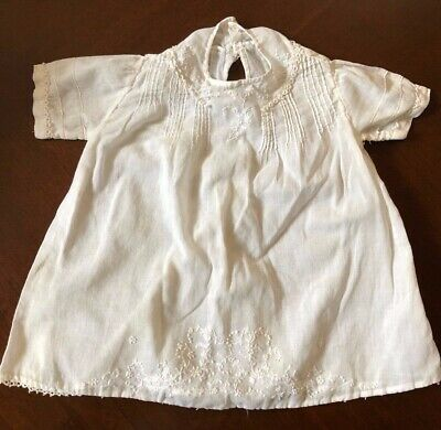 Antique VTG Newborn baby cotton Lace embroidery white top dress shirt