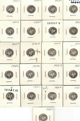 1927 S - 1935 S SILVER MERCURY DIMES MIX LOT of 21 in 2x2 from OLD ESTATE NO=RSV