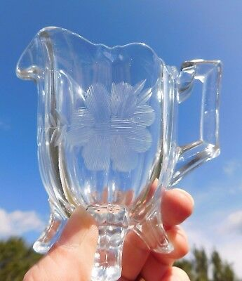 Clear Cut Glass Creamer with Etched Flower with Handle Four-Footed