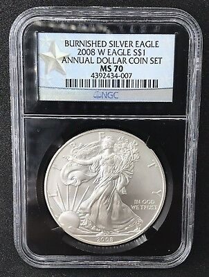 2008 W Burnished Silver Eagle ANNUAL DOLLAR $1 STAR LABEL NGC MS 70
