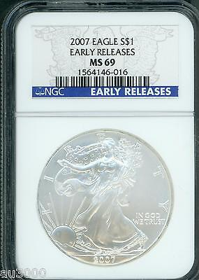 2007 American Silver Eagle ASE S$1 NGC MS69 EARLY RELEASES ER