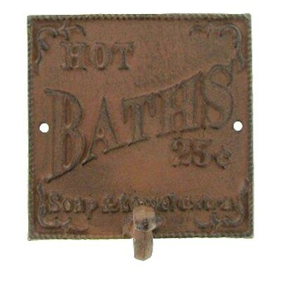 Rustic 'HOT BATH' HOOK HANGER sturdy cast iron SIGN. Western