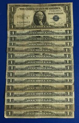 1935D-1957B $1 Blue SILVER Certificates x801 Set of 15 Assorted! Rough Currency