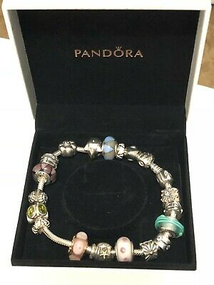 Authentic Pandora Bracelet 20 Retired Sterling Silver 14K Gold Charms Murano