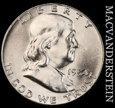 1954 Franklin Half Dollar- Gem Brilliant Uncirculated !! #f1173