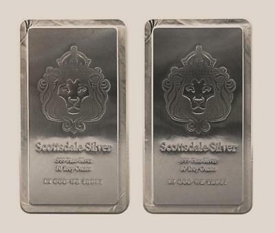 *GREAT INVESTMENT!* (2)-10 Troy oz 999 FN SILVER *Scottsdale Stacker Bar+EXTRAS!