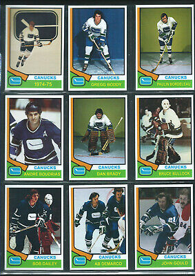 VANCOUVER CANUCKS 1974-75 Hockey Card Style Team Photo Set 30 Photo Cards MINT