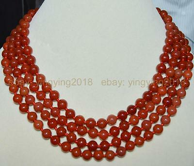 Stunning 4 rows natural red chalcedony agate round gems beads necklace 17-20''
