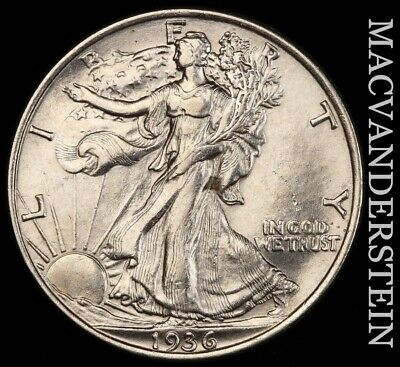 1936 Walking Liberty Half Dollar- Lustrous !! Uncirculated !! #f2507