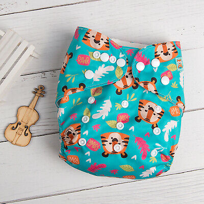 ALVABABY Reusable Baby Cloth Nappies Washable Baby Cloth Pocket Diapers + Insert