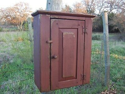 Primitive Pine Wall Hanging Cabinet Cupboard Painted Country Farmhouse Rustic
