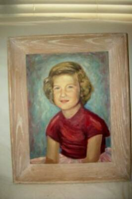 VINTAGE PORTRAIT OIL PAINTING YOUNG GIRL Chic Cottage Shabby Oak Frame 1950's