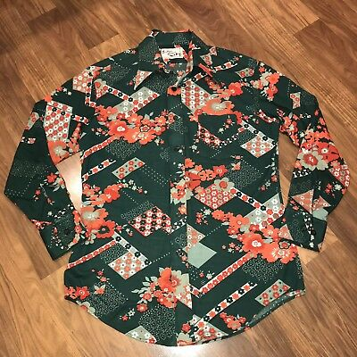 92da9d55 Vtg 60s 70s Green SUTTON PLACE Mens LARGE Ugly Print STRETCH NYLON Disco  Shirt