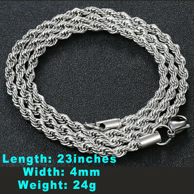 """Women's Men Fashion Stainless Steel Silver Plated Necklace Screw Chain 23""""inches"""
