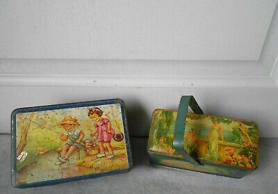 2 Antique French  ILLUSTRATED tin Cake Boxes  CHILD LUNCH PAIL : so CHARMING