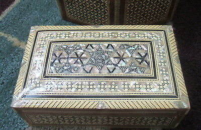 "EGYPTIAN 8"" custom JEWELRY BOX EGYPT  MOTHER OF PEARL INLAYS HANDMADE MAIN STAR!"