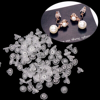 100Pcs Clear Anti-Pain Rubber Clip On Earring Super Soft Silicone Cushion Pads