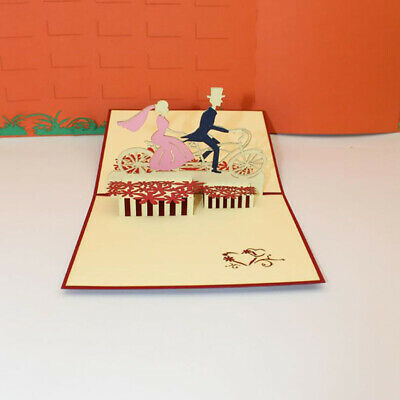 3D Greeting Cards Cycling Shaped Business Birthday Festival Message Postcard BS