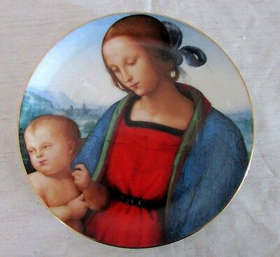 Madonna & Child Christmas Stamp Art Porcelain Plate by Perugino, USPS 1986
