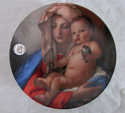 Madonna & Child Christmas Stamp Art Porcelain Plate by Tiepolo, USPS 1982